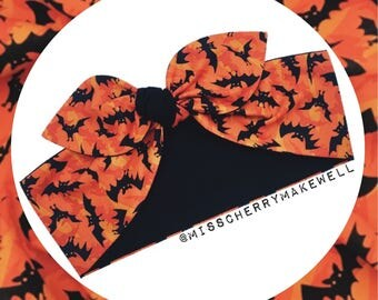 Black and Orange Flying Vampire Bats Rockabilly Punk Vintage 1950's Pin Up Head Scarf Hair Tie Headscarf Hair Bow by Miss Cherry Makewell