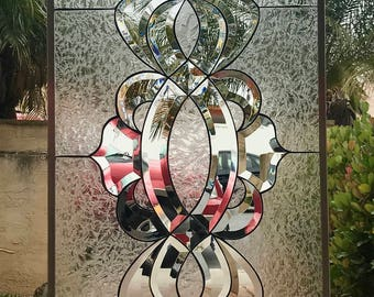"The Magnificent ""Hillsbourgh"" Stained & Beveled Glass Window Panel or Cabinet Insert"