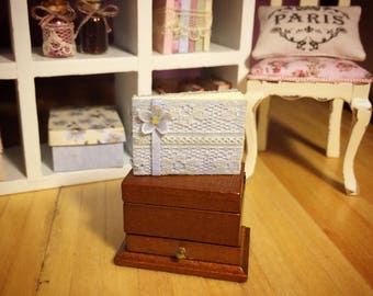Blue MINIATURE WEDDING GUESTBOOK: 1/12 scale, handmade wedding guestbook / photo album for dollhouses
