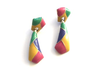 Vintage Colorful Enamel and Gold Dangle Statement Earrings