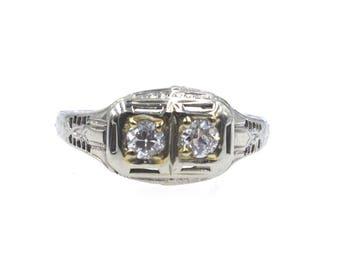 1930's Vintage Diamond Filigree 18 Karat White Gold Ring