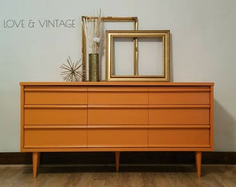 FRANKIE Credenza| Dresser | Changing Table | TV Stand | Mid Century Modern  | Bassett
