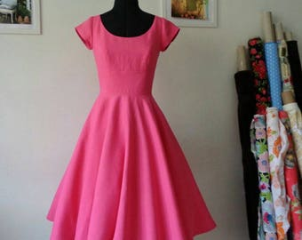AVA Fuchsia linen tea dress tea length,midi skirt,gathered skirt,full skirt,short sleeves dress,vintage inspired dress