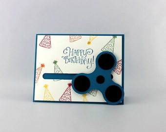 Fidget Spinner Birthday Card - Hand Stamped Happy Birthday Card - Boys Handmade Fidget Spinner Greeting Card - Primary Colors Birthday Card