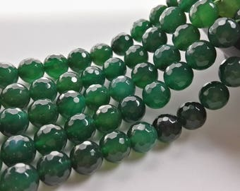 8mm 10mm Green  Agate Beads  ,Round Faceted  Beads ,Gemstone Beads ,DIY Beads , Make your own Jewelry, Findings, wholesale beads