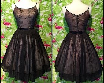 Vintage 1950's black rose print and sparkle prom dress