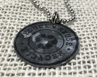 Recycle Charm Necklace -- Reduce Reuse Recycle Charm, Recycled Steel Charm