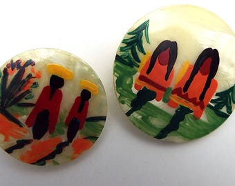 Hand Painted Pearly Plastic Buttons with Mexican Hispanic or Native American People Lot of 2 Large Shank Buttons