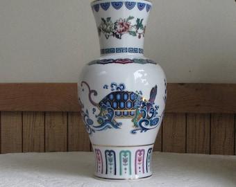 "Porcelain Asian-Turtle Motif Vase ""The Journey of the Heavenly Tortoise"" Vintage Asian Home Decor Chinoiserie"