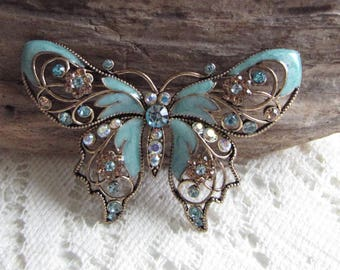 Avon Butterfly Brooch Turquoise Enamel and Rhinestones Large Lapel Pin Vintage Women's Jewelry and Accessories Ware Valentines Day