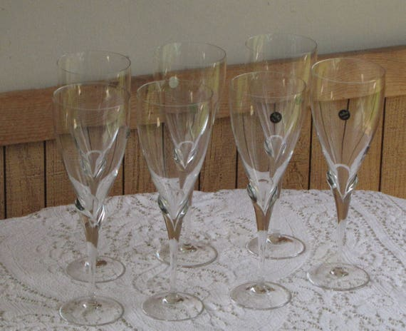 Rosenthal Water Goblets Calice Pattern Discontinued Tall Wine Glasses Vintage Barware Elegant Serving and Dining Set of Seven (7) Wineglass