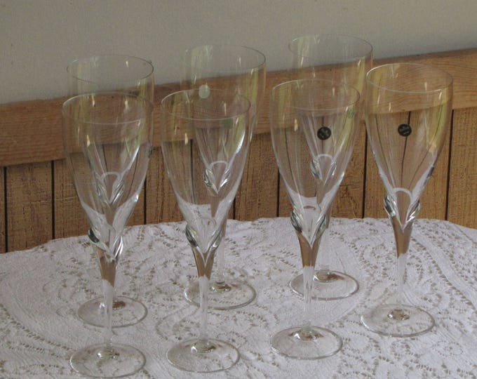 Rosenthal Water Goblets Calice Pattern Discontinued Vintage Barware Set of Seven (7)