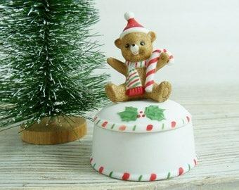 Vintage Lefton Christmas Bear Trinket Box - Christmas Trinket Box - Made in Taiwan - Lefton China - Hand Painted - Geo. Z - 03425 - 1983