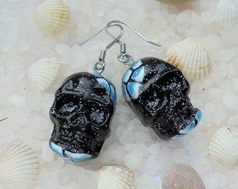 Black blue skull earrings Sugar skull earrings Day of the dead earrings Black skull earrings Sugar skull jewelry Dia de los muertos earrings