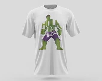 "The Incredible Hulk T-Shirt Typography Design from the Marvel Universe with his phrase, ""Hulk Smash"" Green and Purple from Marvel Comics"