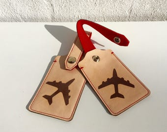 Laser Cut and Engraved Leather Luggage Tags