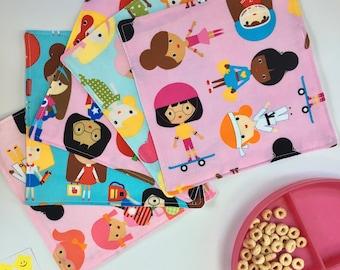 Lunch Napkins For Kids (Cotton Napkins, Reusable Cloth Napkins, Five Napkin Set, Square Napkins, Girl Empowerment, Back To School Napkins)