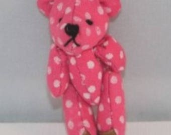 Pink Teddy bear to hang with white dots