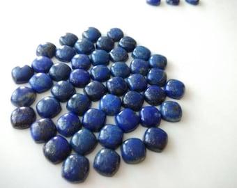 5 Pcs Natural Lapis Lazuli Cushion Cabochon - 10 MM