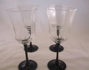 Black Arcoroc Luminarc Octime Stemware, Wine Glasses