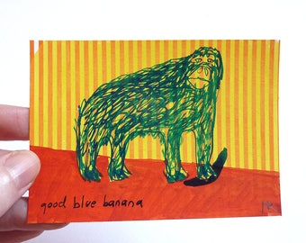 "good blue banana, original miniTrash drawing ( 4.13""x2.9"")"