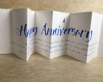 Happy Aniversary, calligraphy on cornflower petal paper, wife or husband or partner anniversary card, luxury anniversary card