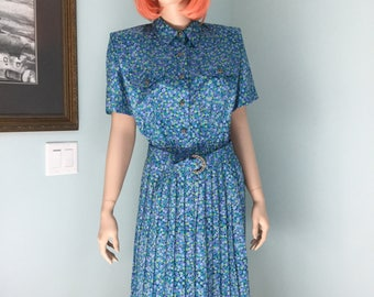 80's,Polyester Dress,Size 10P,Leslie Fay, Flowered dress,Office Dress
