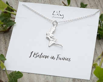 Sterling Silver Fairy Necklace with 'I Believe In Fairies' Message Card.