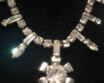 Vintage Rhinestone Baguette Flower Necklace-Bracelet