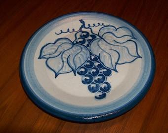 "Vintage Original Dorchester Pottery Fruit Pattern Dessert Plate - 7-1/2"" diameter - Grapes and Leaves Design"