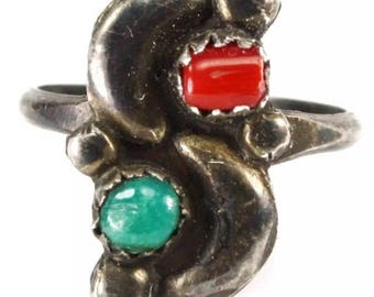 Vintage Native American coral and turquoise sterling silver ring