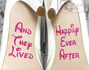 And They Lived Happily Ever After Wedding Shoe Decals, High Heel Decals, Wedding Shoe Decals, Wedding Shoe Stickers, Disney Shoe Decals