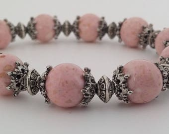 Pink and Silver Beaded Bracelet, Beaded Bracelet, Pink Bracelet