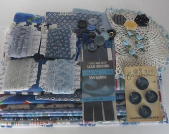 Vintage blue sewing notions lot, Vintage craft supplies, Sewing accessories, Blue sewing lot, Haberdashery
