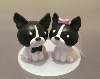 Boston Terriers Wedding Cake Topper