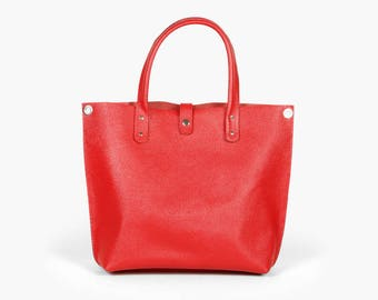 Red leather bag / Red tote / Shopping bag / Leather Shoulder bag 'Clementina Rouge' by A-Rada