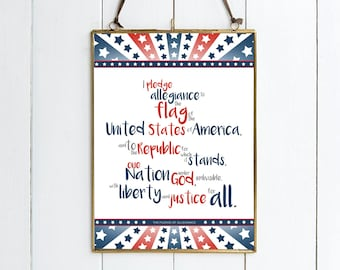 The Pledge of Allegiance - Illustrative Print.  Available in 2 Sizes.  Beautiful Gift.  USA Print.