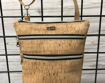 Vegan leather (cork) Triple zip crossbody bag.