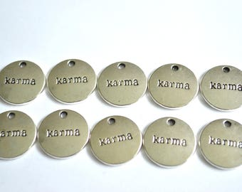 10 x Karma Charms ~ Antique Silver ~ Lead and Nickel Free