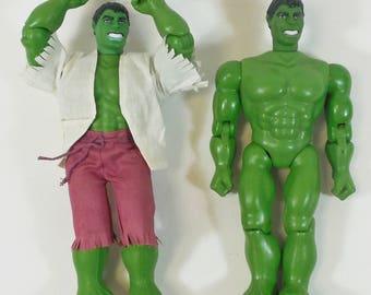 "Pair of Vintage Mego 12"" Incredible Hulk Action Figures, 1978 Marvel Comics"