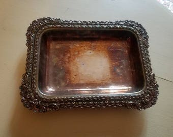 Two silver vintage stackable trays with beautiful detail