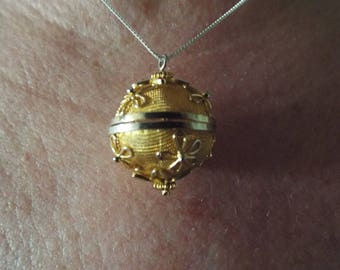 "Yellow Gold Plated Crystal Ball Necklace Sterling Silver Chain 18"" Vintage jewelry Mother's Day"