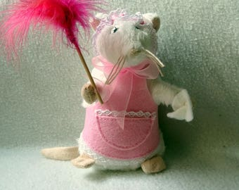 Nina mouse maid is activated with a feather duster