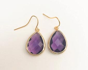 Amethyst Gemstone Teardrop Earrings, February Birthstone Earrings, Purple Gemstone Drop Earrings, Simple Dangle Earrings, 12 COLOR OPTIONS