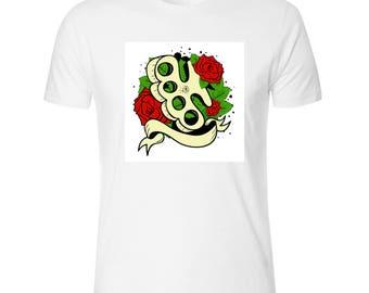Rose Brass Knuckles Men's White T shirt