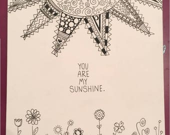 You Are My Sunshine doodle