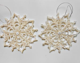 Quilled Snowflake-Christmas ornament-ornament tree-quilling paper-paper ornament