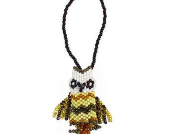 Hand-Beaded Owl Ornament