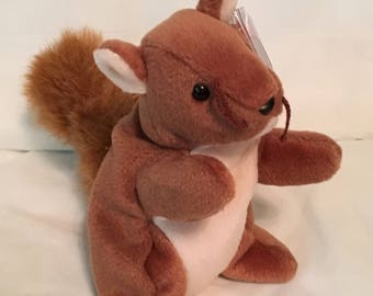 TY Beanie Baby - NUTS the Squirrel - Pristine with Mint Tags - PVC Pellets - Retired