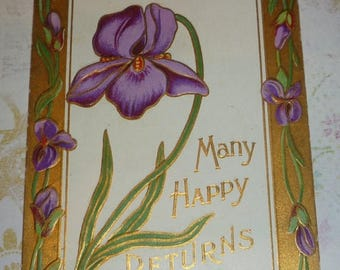 ON SALE till 6/30 Pretty Purple Bearded Iris Many Happy Returns of the Day Antique Postcard